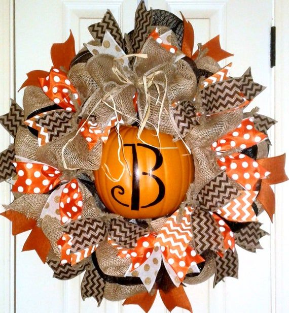 Pumpkin Monogram Wreath, Fall Burlap Pumpkin wreath, Fall wreath, personalized w...
