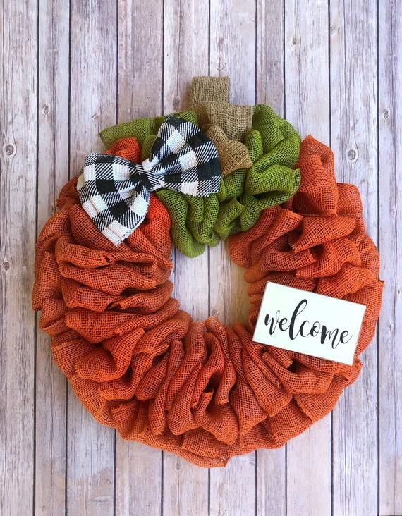 Pumpkin Wreath | Fall Wreath | Buffalo Plaid Wreath | Front Door Wreath | Burlap...