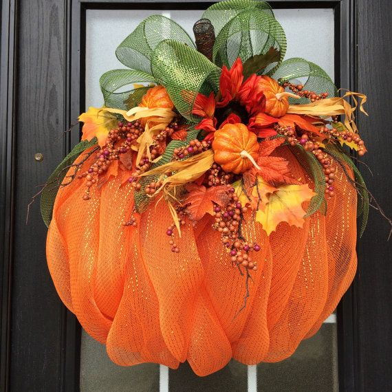 Pumpkin Wreath, Orange Mesh Pumpkin with Fall Leaves