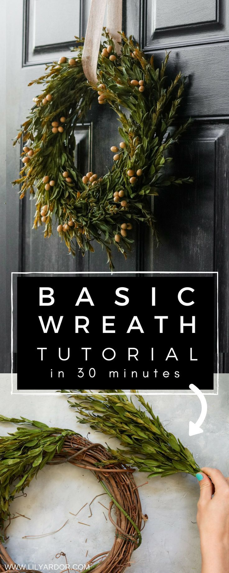 Quick and Easy DIY wreath tutorial. Add cranberries to make it a Christmas wreat...