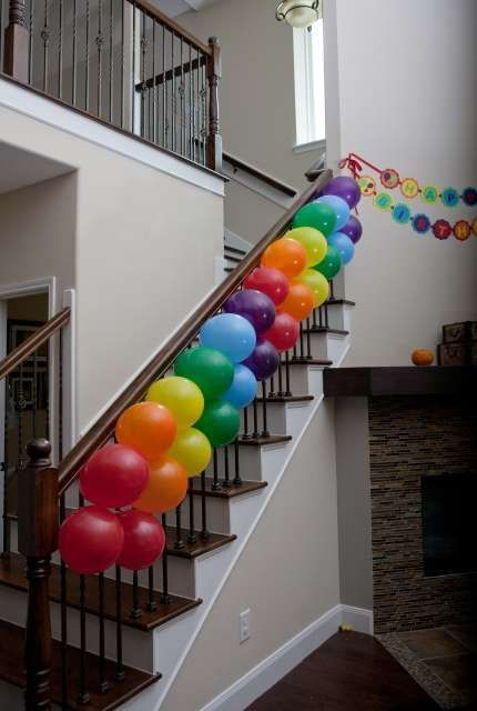 Rainbow air balloon stairs