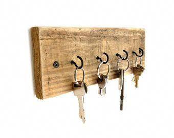 Reclaimed Wood Key Holder - key hanger key hook rack key rack key hooks wood wal...