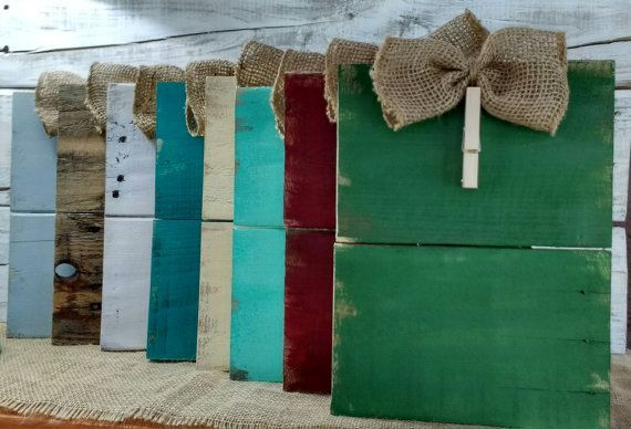 Rustic clothespin pallet wood picture frame. Photo hanger, Burlap bow picture fr...