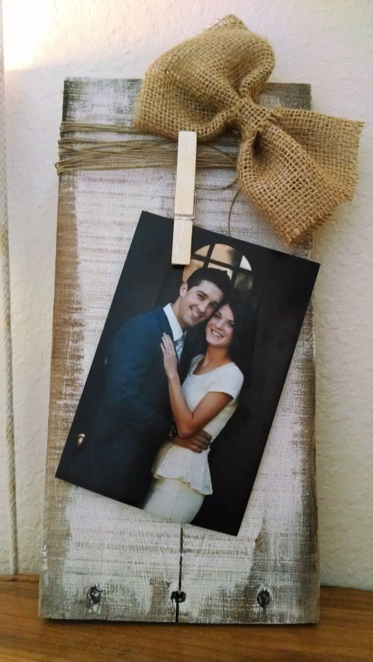 Rustic clothespin pallet wood picture frame. Photo hanger   Etsy