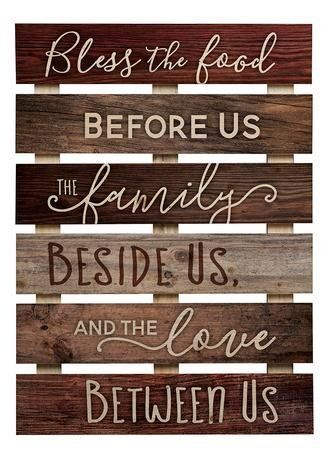 Rustic wood wall sign of natural pine slats, with inspirational sentiment; simpl...