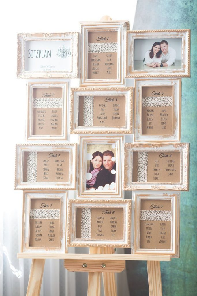 Seating plan yourself made of vintage photo frame with easel, DIY seating plan wedding ...