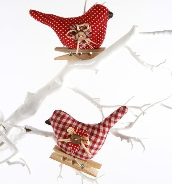 Set of 2 Gingham Birds - Christmas Decoration - Lifestyle Home and Living is ...