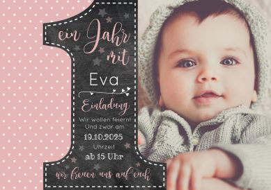 Sweet 1st birthday invitation as photo card in old rose and trendy design with ...
