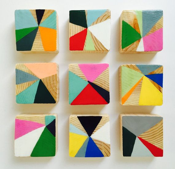 These Set of 9 Modern Scandinavian modern painted wall wood cube sculptures are ...