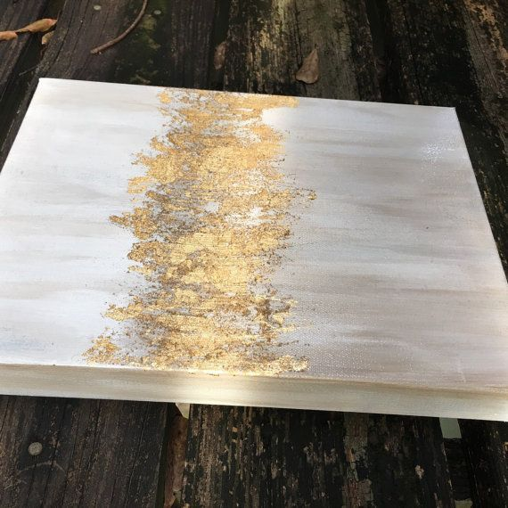 This painting is blended with beautiful shades of white and gold acrylic paint a...