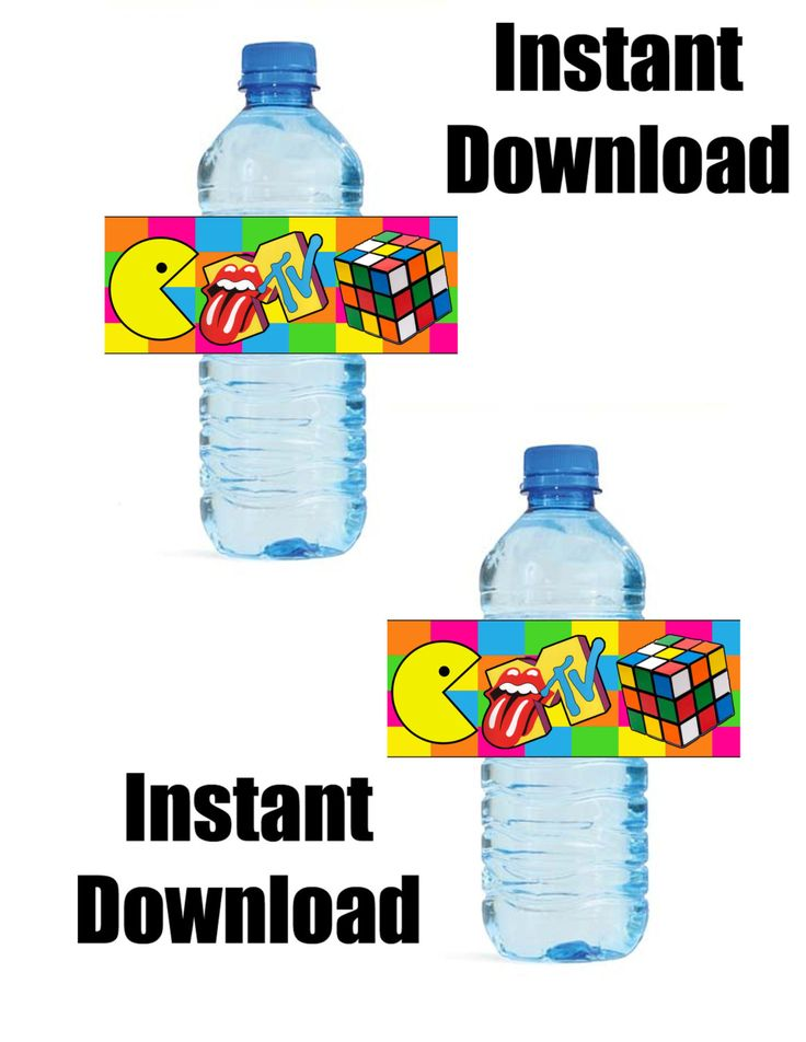 Totally 80's Party Theme DIY Water Bottle by PutOnYourPartyCap