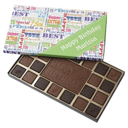 Unique And Special 75th Birthday Party Gifts 45 Piece Box Of Chocolates - home d...