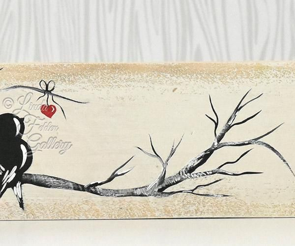 """You and Me"", a Reclaimed Wood Painting, featuring our Signature Love Birds.  H..."