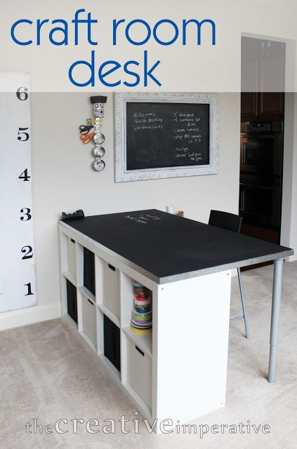 craft room desk from ikea bookshelf with text along the room with shorter ...