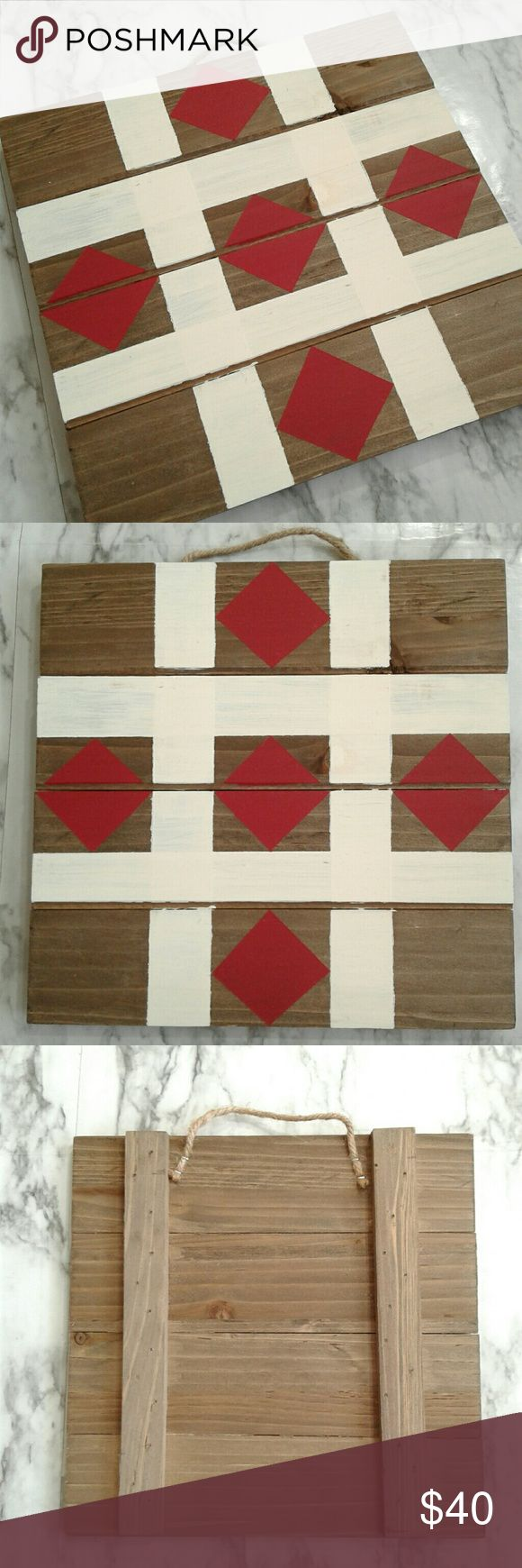 Hand-painted Rustic Chic Pallet Wood Barn Quilt Perfect for adding a touch of wa...