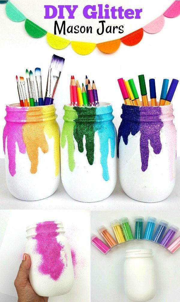 DIY glitter mason jars. Perfect for art spaces, craft rooms or classrooms ...