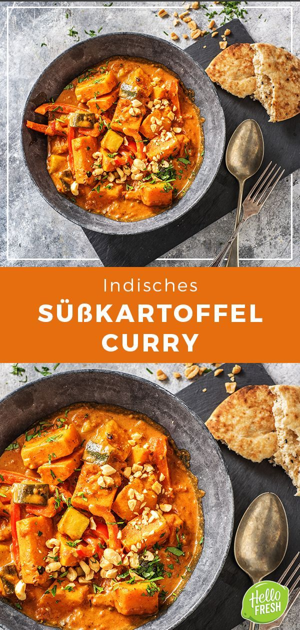 Indian Sweet Potato Curry with Zucchini, Tikka Masala Paste and Naan Bread. C ...